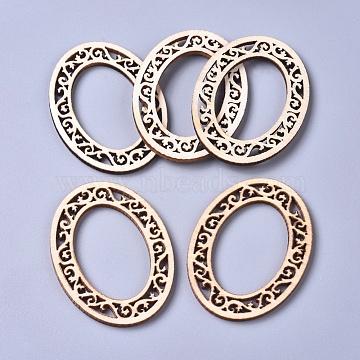 Poplar Wood Linking Rings, Laser Cut Wood Shapes, Oval, Floral White, 55x40x2.5mm, Inner Diameter: 36.5x24mm(X-WOOD-D021-16)