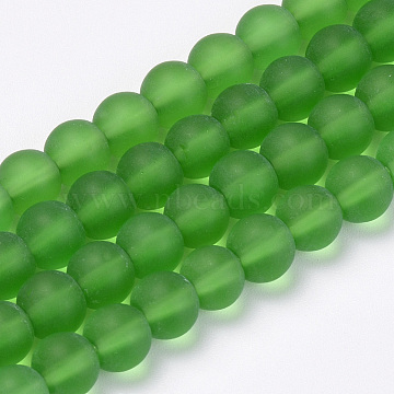 Transparent Glass Beads Strands, Frosted, Round, Green, 8mm, Hole: 1.5mm; about 42pcs/strand, 11.8 inches(X-GLAA-Q064-01-8mm)
