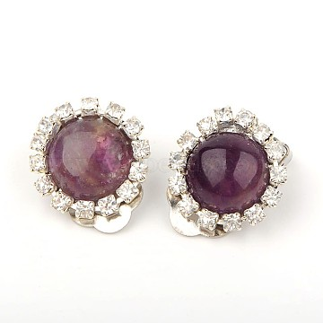 Trendy Brass Gemstone Clip-on Earrings, with Brass Rhinestone and Brass Cilp-on Earring Components, Platinum, Amethyst, 19x14mm(EJEW-JE01240-02)
