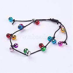"""Bracelets de cheville en laiton cloche, avec cordon de coton ciré chinois, colorées, 2-1/2""""~4-1/2"""" (65~115 mm)(AJEW-AN00202)"""