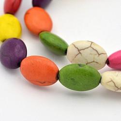 """Turquoise synthétique teint chapelets de perles ovales, colorées, 14x10x6mm, trou: 1mm; environ 28 pcs/chapelet, 14.9""""(G-N0138-03)"""