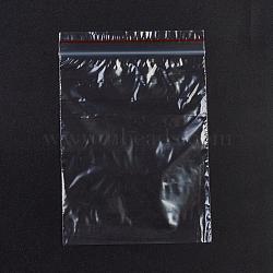 sacs en plastique à fermeture éclair, sacs d'emballage refermables, joint haut, rectangle, rouge, 12.9x8.9 cm; épaisseur unilatérale: 0.028 mm; mesure intérieure: 8.8x11.3 cm, 100 PCs / sac(OPP-G001-E-9x13cm)