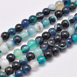 Natural Striped Agate/Banded Agate Bead Strands, Dyed & Heated, Round, Grade A, CadetBlue, 4mm, Hole: 0.5mm; about 93pcs/strand, 14.7inches(375mm)