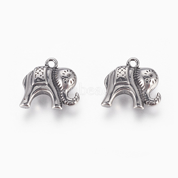 Antique Silver Elephant Stainless Steel Pendants