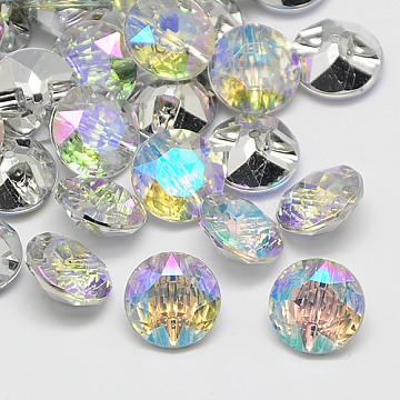 Taiwan Acrylic Rhinestone Buttons, Faceted, 1-Hole, Flat Round, Colorful, 28x12mm, Hole: 2mm(BUTT-F020-28mm-14)