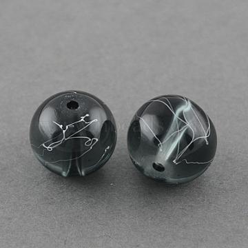 4mm Gray Round Glass Beads