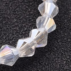 Glass Beads Strands, Bicone, Clear, AB Color Plated, 4mm, Hole: 1mm; about 70pcs/strand, 10.63inches(X-GB4mm01Y-AB)