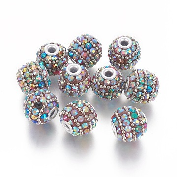 Handmade Indonesia Beads, with Metal Findings, Round, Silver Color Plated, Colorful, 17x15mm, Hole: 3mm(IPDL-E010-01F)