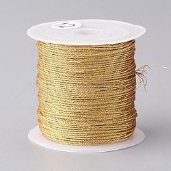 Metallic Cord, for Jewelry Making, Gold, 0.8mm, about 27.34 yards(25m)/roll(MCOR-CJC0001-03B)