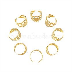 Brass Filigree Ring Shanks, Pad Ring Base Findings, Adjustable, Golden, Size 7(17mm)(KK-TA0007-24G)
