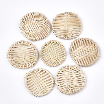 Handmade Reed Cane/Rattan Woven Beads, For Making Straw Earrings and Necklaces, No Hole/Undrilled, Flat Round, AntiqueWhite, 40~46x4~5mm(X-WOVE-T006-019)