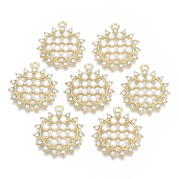 Alloy Pendants, with Crystal Rhinestone and ABS Plastic Imitation Pearl, Sun Flower, Light Gold, 27x24x4.5mm, Hole: 1.6mm(PALLOY-T077-04)