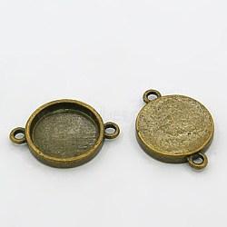 Тибетского стиля разъем кабошон сеттинги, античная бронза, без свинца, без кадмии и без никеля, плоско-круглые, лоток : 15 мм; 25x18x3 мм, отверстие : 2 мм(MLF11386Y-NF)