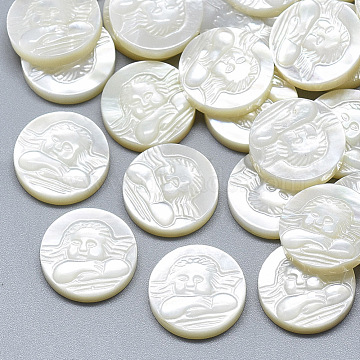 Natural White Shell Mother of Pearl Shell Cabochons, Flat Round with Carved Cupid/Cherub/Angel, Seashell Color, 14.5x3.5mm(SSHEL-S264-052)