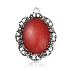 Plaqué argent antique résine d'alliage ovale gros pendentifs gothiques, rouge, 61x45x8.5mm, Trou: 4mm(PALLOY-J527-C01)