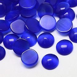 Кабошоны кошачьего глаза, полукруглый, синие, 12x3 мм(CE-J002-12mm-03)