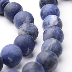 """Rondes dépoli sodalite naturel brins de perles, 10mm, trou: 1mm; environ 38~39 pcs/chapelet, 15""""(G-J346-25-10mm)"""