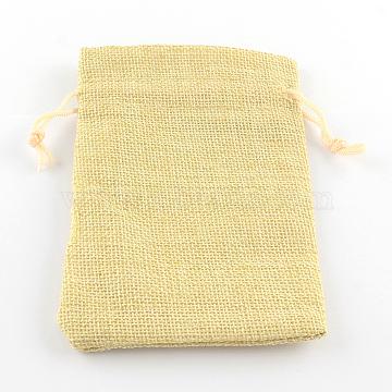 Polyester Imitation Burlap Packing Pouches Drawstring Bags, Lemon Chiffon, 9x7cm(X-ABAG-R005-9x7-13)