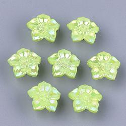 Opaque comme des boutons en plastique, nacré, fleur, greenyellow, 16.5x17x9mm, trou: 3 mm; environ 1150 pcs / 500 g(MACR-S365-08G)
