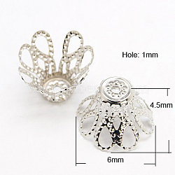 Iron Bead Caps, Platinum, 6x4.5mm, Hole: 1mm, Inner Diameter: 5mm(X-IFIN-D042-6x4.5-P)