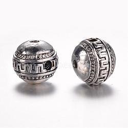 alliage de style tibétain 3 perles gourou -hole, perles t-percées, arrondir, argent antique, 16x14 mm, trou: 3 mm(PALLOY-YC65926-AS)