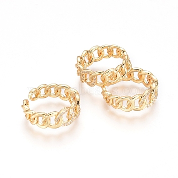 Adjustable Brass Finger Rings, Cuff Rings, Open Rings, with Micro Pave Clear Cubic Zirconia, Long-Lasting Plated, Golden, Size 6, 16mm(X-RJEW-G096-35G)