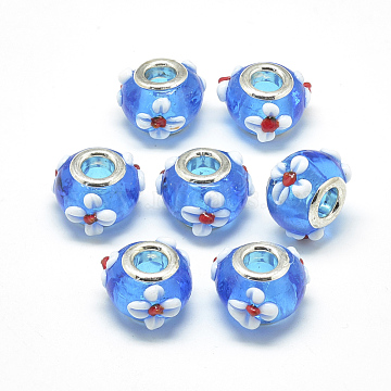 Handmade Lampwork European Beads, Bumpy Lampwork, with Platinum Brass Double Cores, Large Hole Beads, Rondelle with Flower, Dodger Blue, 16x14x10.5mm, Hole: 5mm(X-LAMP-Q029-03E)