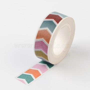 DIY Arrow Pattern Scrapbook, Decorative Adhesive Tapes, Colorful, 15mm; about 10m/roll(DIY-F004-05D)