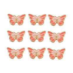 Perles en émail d'alliage de style chinois, papillon, or, lightsalmon, 9.5x15.5x4mm, Trou: 1.6mm(X-ENAM-L015-16A-G)