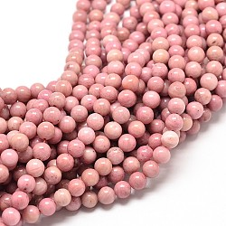 Natural Rhodonite Round Bead Strands, 8mm, Hole: 1mm; about 45pcs/strand, 15 inches