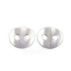 2-отверстие 304 из нержавеющей стали швейных кнопок, Плоско-овальные, цвет нержавеющей стали, 14x12x1 мм, отверстие : 3 мм(STAS-E147-32P)