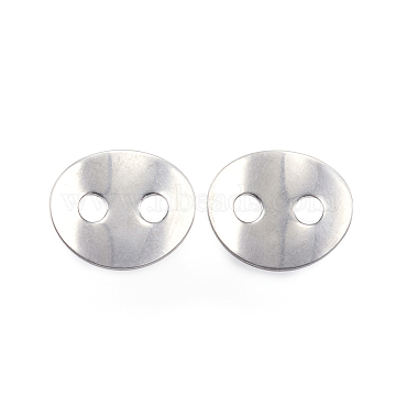 2-Hole 304 Stainless Steel Sewing Buttons, Flat Oval, Stainless Steel Color, 14x12x1mm, Hole: 3mm(STAS-E147-32P)