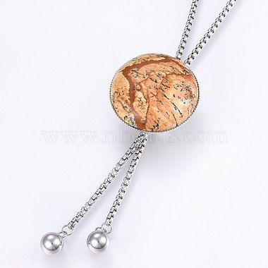 304 Stainless Steel Lariat Necklaces(NJEW-F221-01P-08)-2