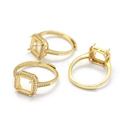 pièces d'anneau de doigt en argent sterling réglables 925, avec zircons, carré, réel 18 k plaqué or, plateau: 7x7 mm; 16.5 mm(STER-E061-17G)