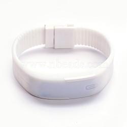 Vogue conduit rectangle silicium lumière montres-bracelets électroniques, blanc, 55x69mm(X-WACH-F007-08H)