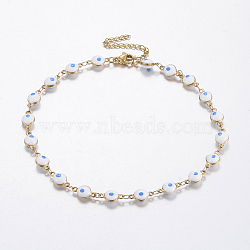 304 Stainless Steel Anklets, with Enamel, Evil Eye, DodgerBlue, 10-1/4inches(260mm)(AJEW-F033-02B)