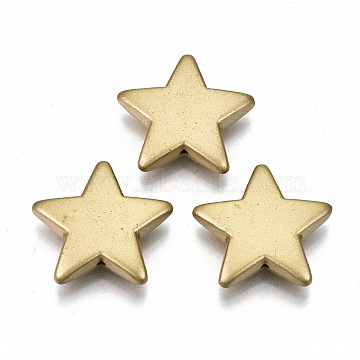 Opaque Spray Painted Acrylic Beads, Star, Goldenrod, 20x21.5x5mm, Hole: 1mm; about 469pcs/500g(ACRP-N002-25)