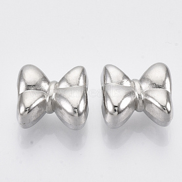 CCB Plastic European Beads, Large Hole Beads, Bowknot, Platinum, 14x15x8.5mm, Hole: 4mm; about 479pcs/500g.(CCB-R102-20P)