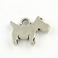 Breloques en alliage de chien, de style tibétain, sans plomb et sans nickel, argent antique, 11.5x15.5x2mm, Trou: 2mm(X-TIBEP-R336-184AS-FF)