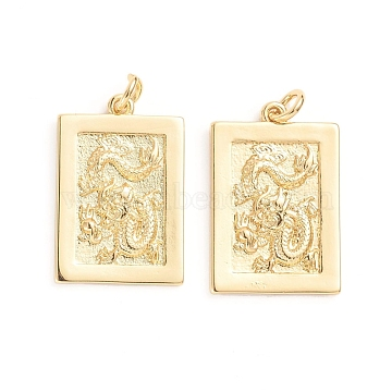 Brass Pendants, with Jump Rings, Rectangle with Dragon, Golden, 22~22.5x15x2mm, Hole: 3mm(X-ZIRC-E164-35G)