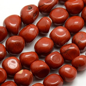 Nuggets Natural Red Jasper Beads Strands, 10~12x8~12mm, Hole: 1mm; about 36pcs/strand, 16.1 inches(G-P062-01)