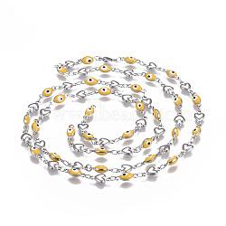 304 chaînes en acier inoxydable émaillé, soudé, mauvais oeil coeur et ovale, couleur inoxydable, jaune, 10x5.5x2mm(CHS-P006-01P-01)