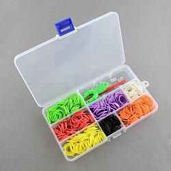 Top vente de jouets pour enfants bricolage coloré bandes de métier à tisser en caoutchouc kit de recharge avec accessoires, couleur mixte, 175x100x23mm(DIY-R009-02)