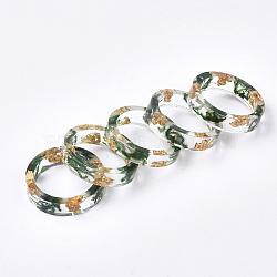 cmолы кольца, с сухой травой, золотая фольга, зеленый, 19 mm(RJEW-S043-04D-02)