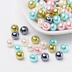 Pastel mix perles perles de verre nacrées, couleur mixte, 8mm, trou: 1 mm; environ 100 PCs / sachet (HY-X006-8mm-12)