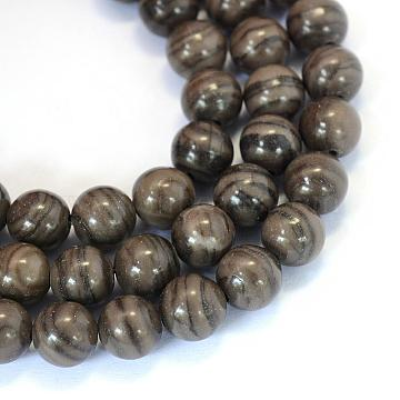 Natural Black Wood Lace Stone Round Bead Strands, 6~6.5mm, Hole: 1mm; about 63pcs/strand, 15.5 inches(G-E334-6mm-03)