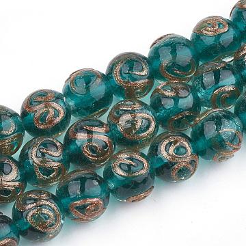 Handmade Gold Sand Lampwork Beads, Round, Dark Cyan, 11.5~12.5x11~12mm, Hole: 1.5~2mm(X-LAMP-T006-07E)