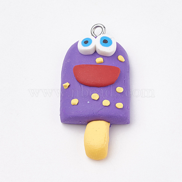 Handmade Polymer Clay Pendants, with Iron Findings, Ice Cream with Smile, Platinum, Blue Violet, 34~35x16~17x8~9mm, Hole: 2mm(X-CLAY-T012-23A)