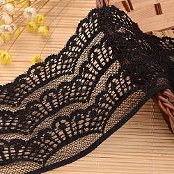"""Ruban en nylon avec garniture en dentelle pour la fabrication de bijoux, noir, 3-1/8"""" (80 mm); environ 72yards / rouleau (65.8368m / rouleau)(ORIB-L005-59)"""