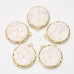 Сплав подвески, с кашемировой тканью, плоские круглые, светлое золото, белье, 32x28x2.5 mm, отверстия: 2 mm(PALLOY-T056-117B-09)